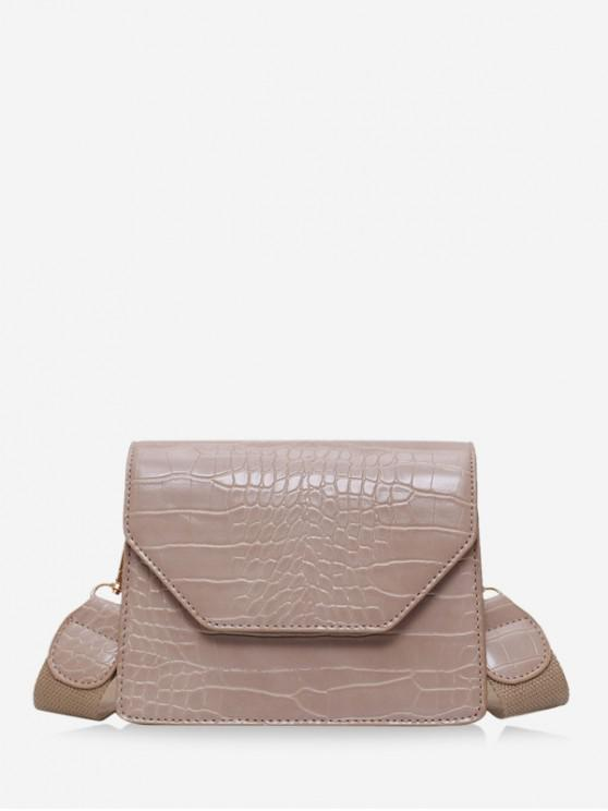 unique Animal Embossed Wide Strap Crossbody Bag - KHAKI