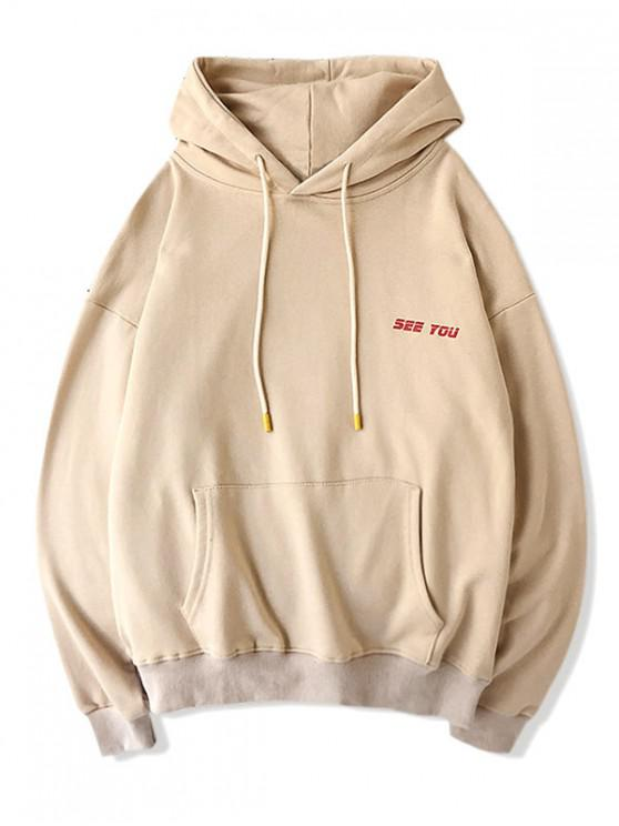 womens Casual Letter Pattern Drawstring Hoodie - APRICOT M