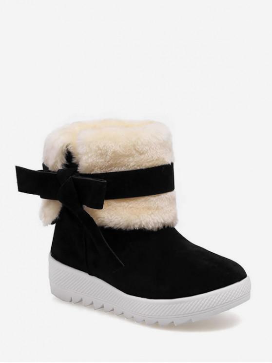 甜蝴蝶結仿毛皮裝飾雪地靴 - 黑色 歐盟39