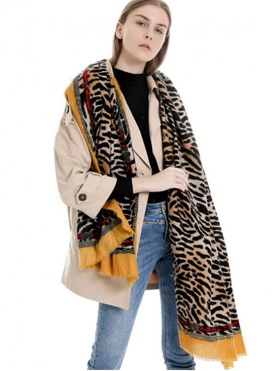 new Tiger Chain Print Winter Long Scarf - BRIGHT YELLOW REGULAR