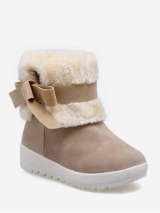 甜蝴蝶結仿毛皮裝飾雪地靴 - 黃褐色 歐盟35