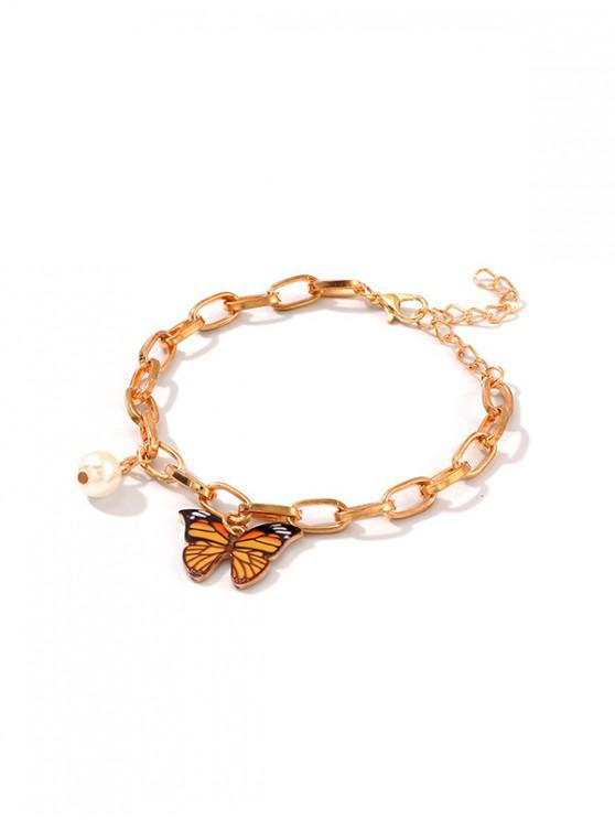 lady Butterfly Punk Chain Bracelet - TANGERINE