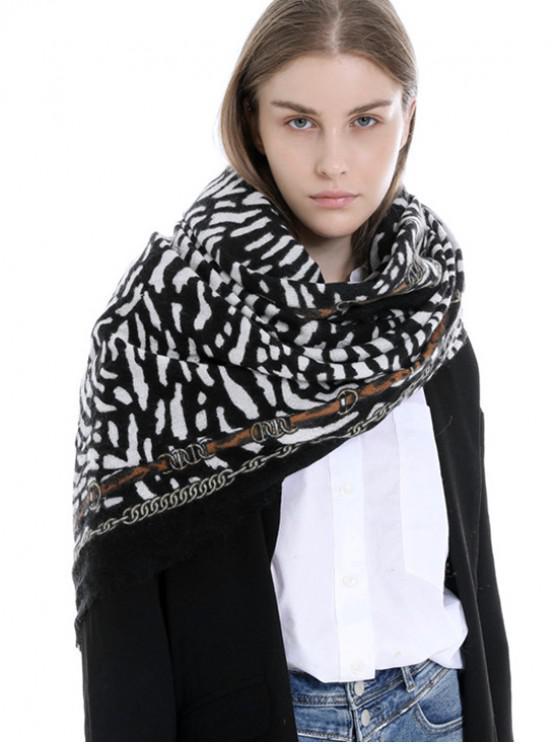 shop Tiger Chain Print Winter Long Scarf - BLACK REGULAR