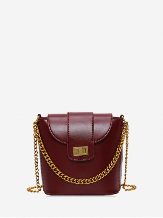 trendy Chain Handle Hasp PU Leather Bucket Bag - RED WINE