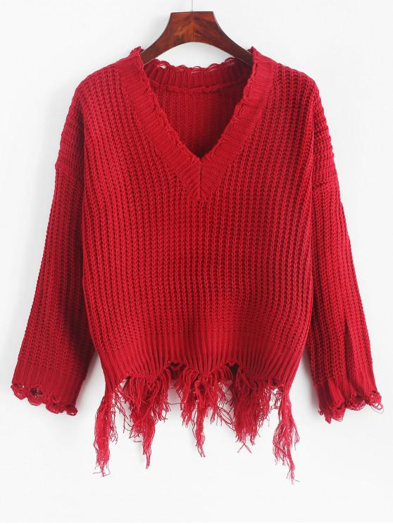 outfit Ripped Drop Shoulder V Neck Sweater - LAVA RED ONE SIZE