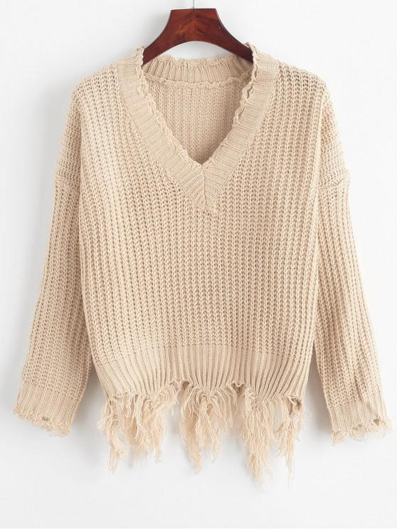 new Ripped Drop Shoulder V Neck Sweater - BLANCHED ALMOND ONE SIZE