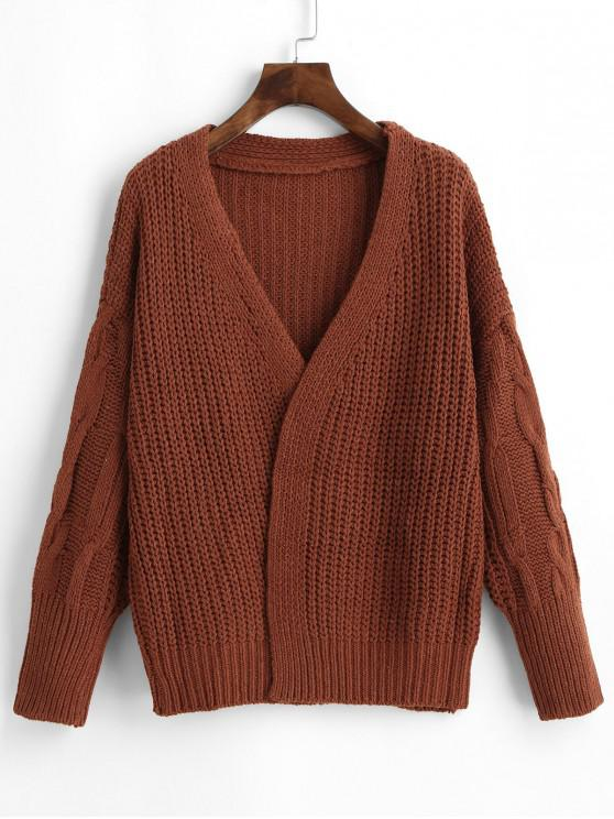 womens Chunky Cable Knit Cardigan - BROWN ONE SIZE