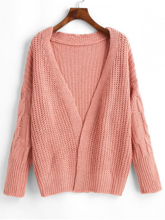best Chunky Cable Knit Cardigan - PINK ONE SIZE