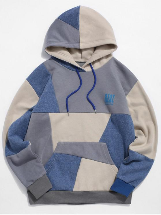 latest Letter Color Spliced Printed Casual Drawstring Hoodie - MULTI-A L