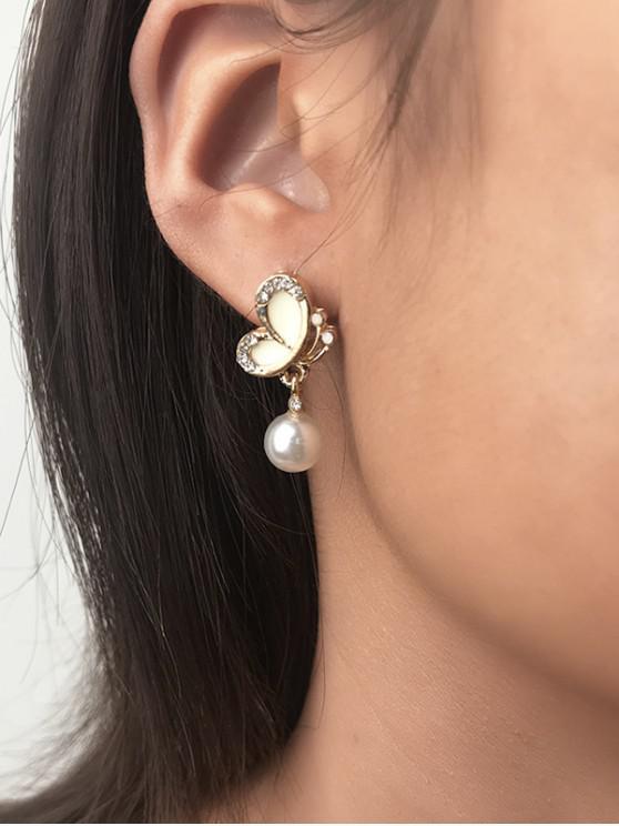 รูปร่าง Faux เพิร์ล Rhinestone ผีเสื้อ Stud Earrings - ทอง