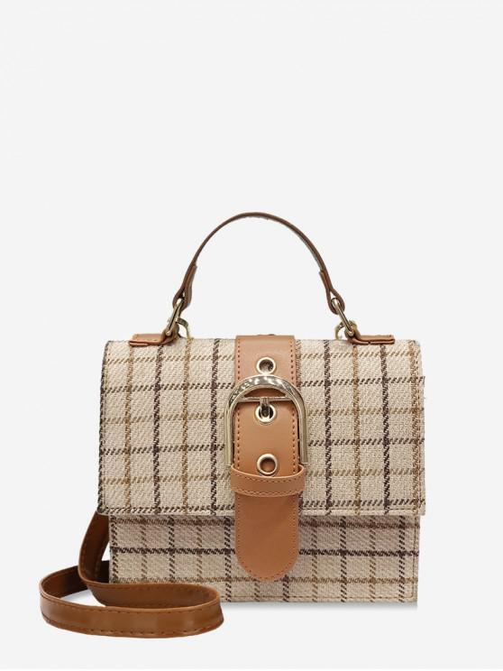 fancy Plaid Pattern Square Shoulder Bag - BEIGE