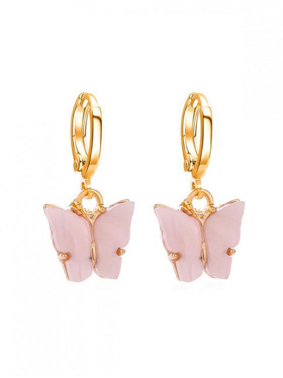 Boucles d'Oreilles au Crochet Papillon en Acrylique - Rose Cochon