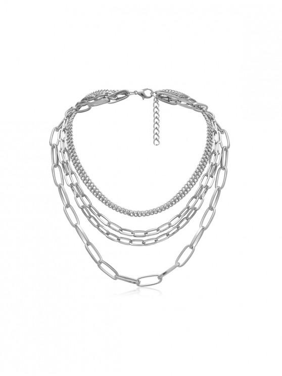 affordable Brief Link Chain Multilayered Necklace - SILVER