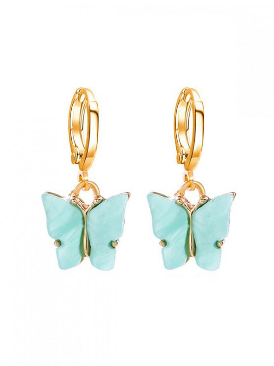 new Butterfly Small Hoop Drop Earrings - AQUAMARINE