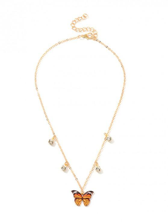 shop Butterfly Rhinestone Pendant Necklace - TANGERINE