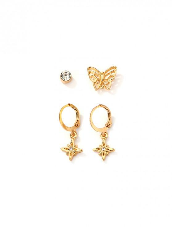 fancy Butterfly Star Rhinestone Earring Set - GOLD