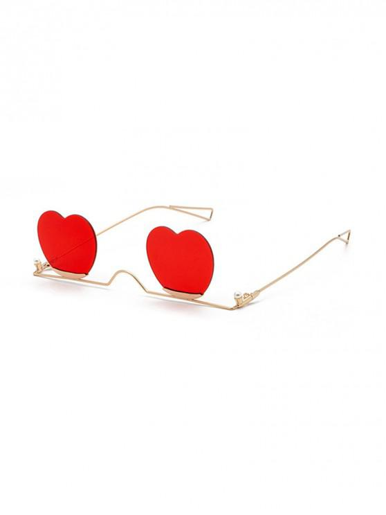 womens Metal Heart Lens Gradient Sunglasses - RED