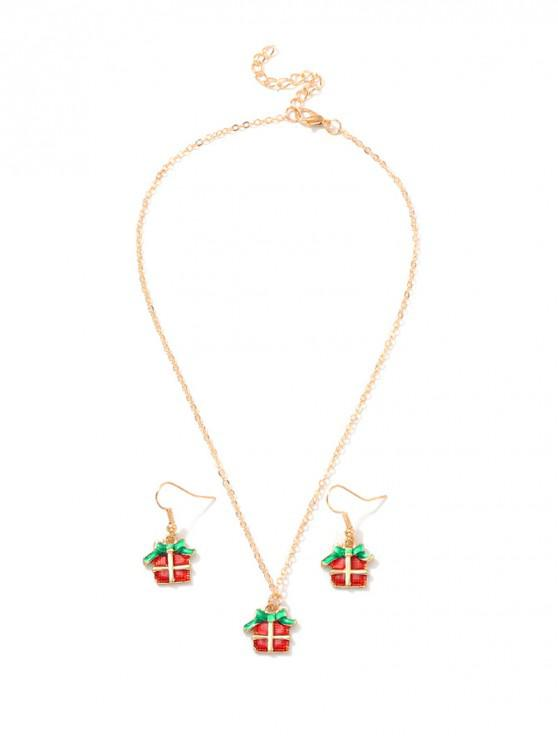 ladies Christmas Pattern Chain Necklace and Hook Earrings - MULTI-B