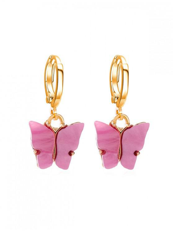 outfit Butterfly Small Hoop Drop Earrings - BRIGHT NEON PINK