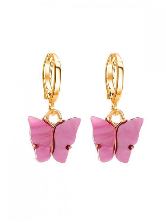 Schmetterling Kleine Band-Tropfen-Ohrringe - Helle Neon Rosa