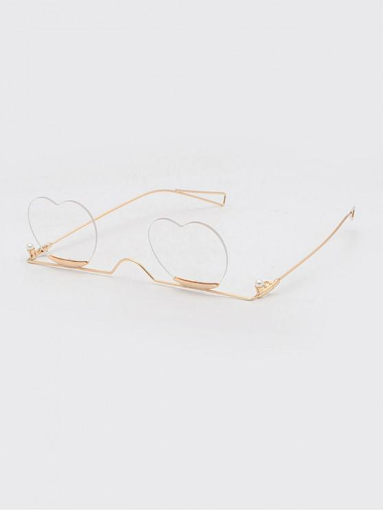 shops Metal Heart Lens Gradient Sunglasses - GOLD