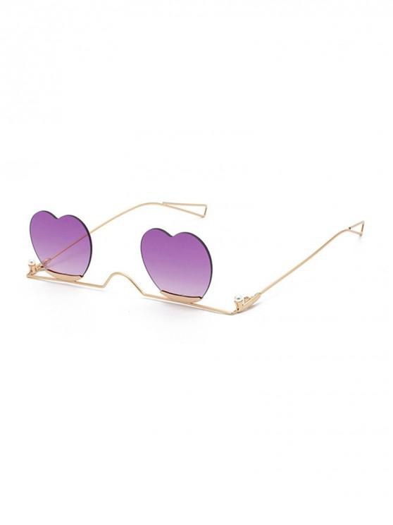 latest Metal Heart Lens Gradient Sunglasses - PURPLE