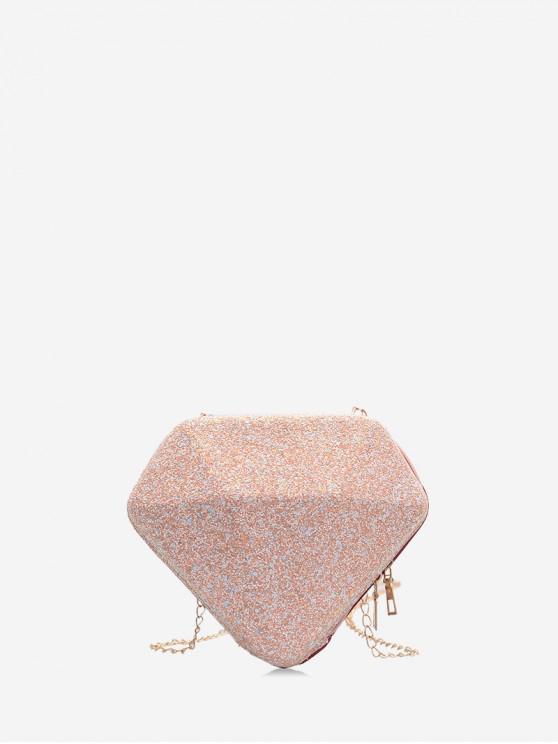 fancy Paillette Diamond Shape Shoulder Bag - ORANGE PINK