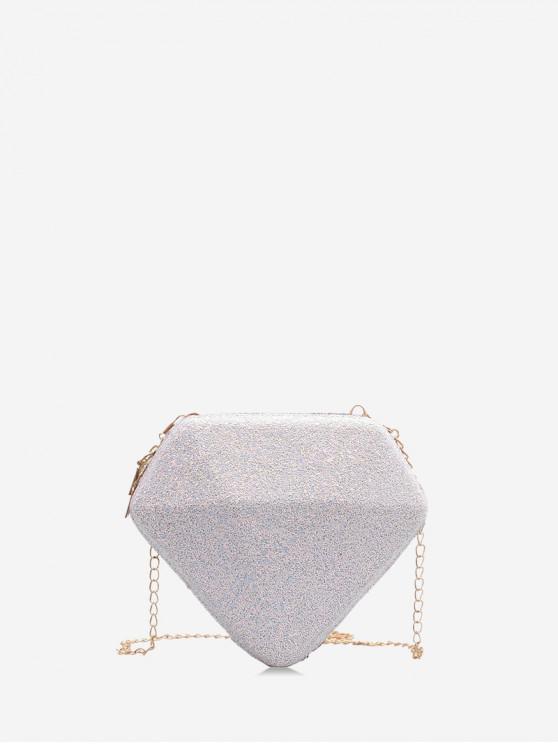 affordable Paillette Diamond Shape Shoulder Bag - MILK WHITE