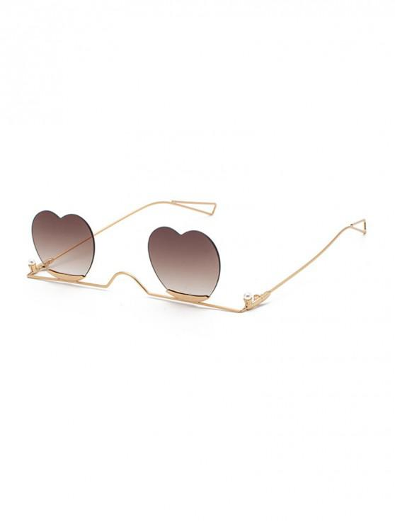 womens Metal Heart Lens Gradient Sunglasses - COFFEE
