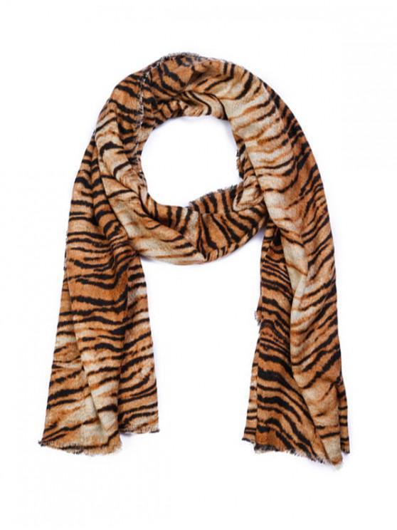 lady Tiger Printed Faux Wool Shawl Scarf - BROWN REGULAR
