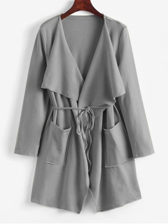 outfit Belted Skirted Patched Pockets Waterfall Coat - GRAY CLOUD M