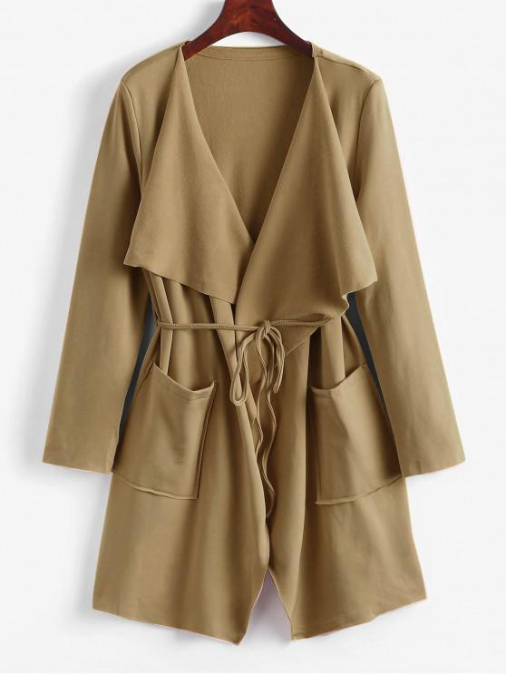 outfits Belted Skirted Patched Pockets Waterfall Coat - LIGHT KHAKI S