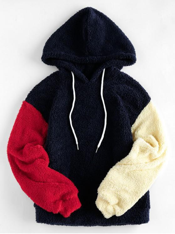 hot ZAFUL Colorblock Drop Shoulder Faux Fur Hoodie - MULTI-C S