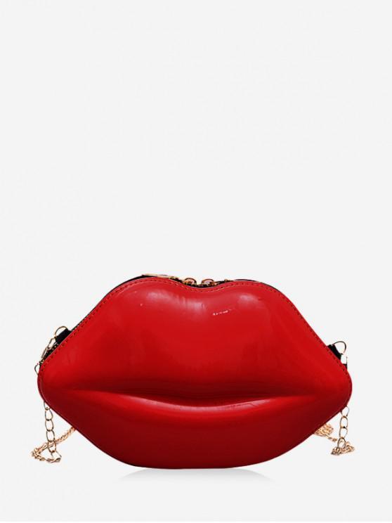 ห่วงโซ่ริมฝีปากของแข็งกระเป๋ารูปทรงไหล่ - Rosso Red