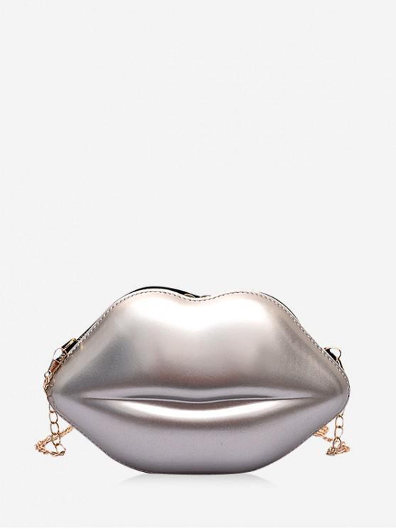 fancy Chain Solid Lips Shape Shoulder Bag - SILVER