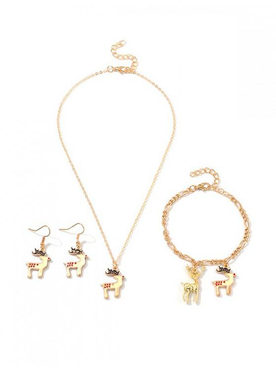buy Christmas Elk Pendant Jewelry Set - GOLD