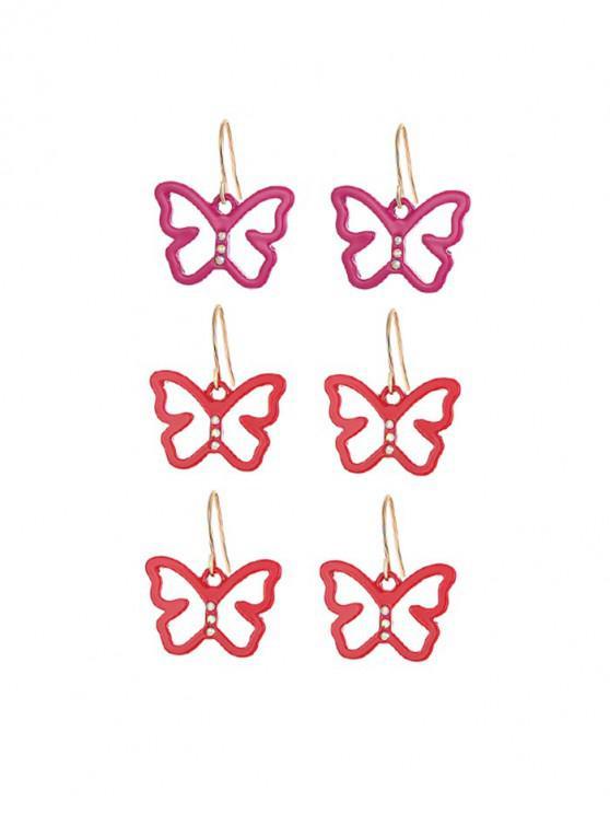 3,對空心蝴蝶耳環套裝 - 金