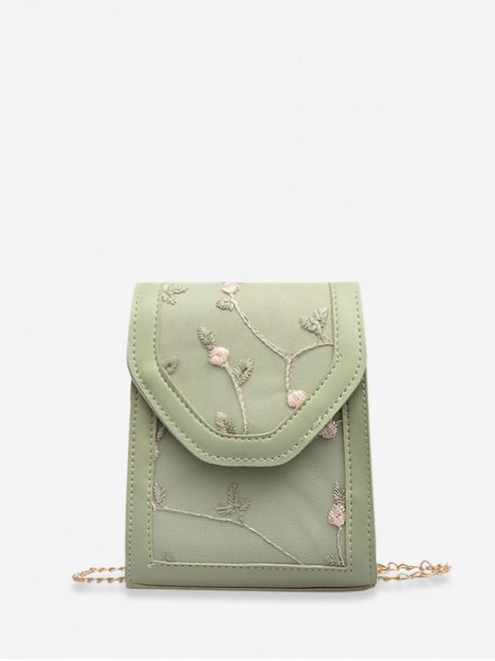 outfit Floral Embroidered Chain Strap Crossbody Bag - DARK SEA GREEN