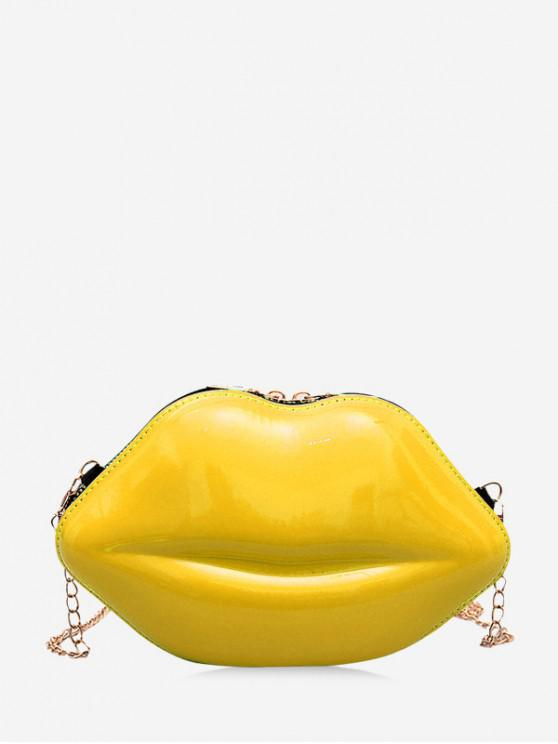 outfits Chain Solid Lips Shape Shoulder Bag - YELLOW