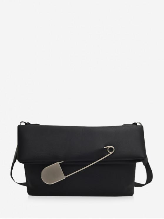 unique Safe Pin Embellished Crossbody Bag - BLACK