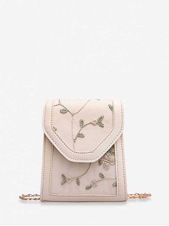 sale Floral Embroidered Chain Strap Crossbody Bag - BEIGE