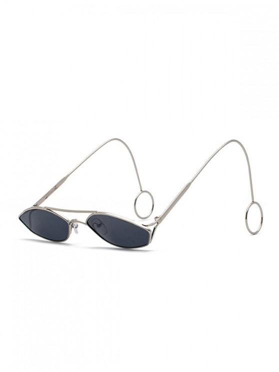 womens Unisex Narrow Irregular Hollow Sunglasses - SILVER