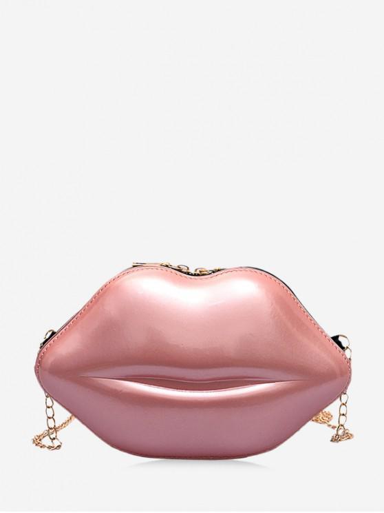 lady Chain Solid Lips Shape Shoulder Bag - ROSE