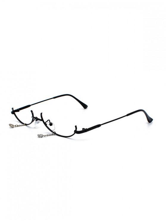 best Metal Pendant Semi-rimless Glasses Frame - BLACK