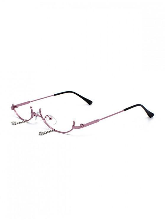 hot Metal Pendant Semi-rimless Glasses Frame - ROSE GOLD