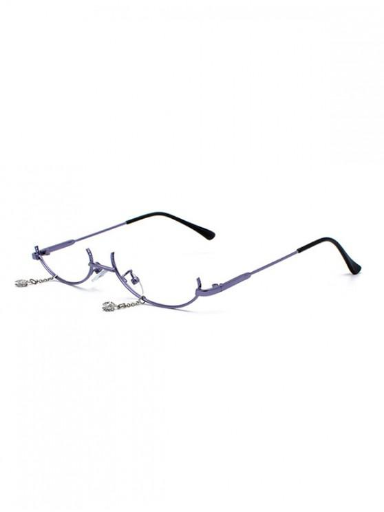 outfit Metal Pendant Semi-rimless Glasses Frame - BLUE