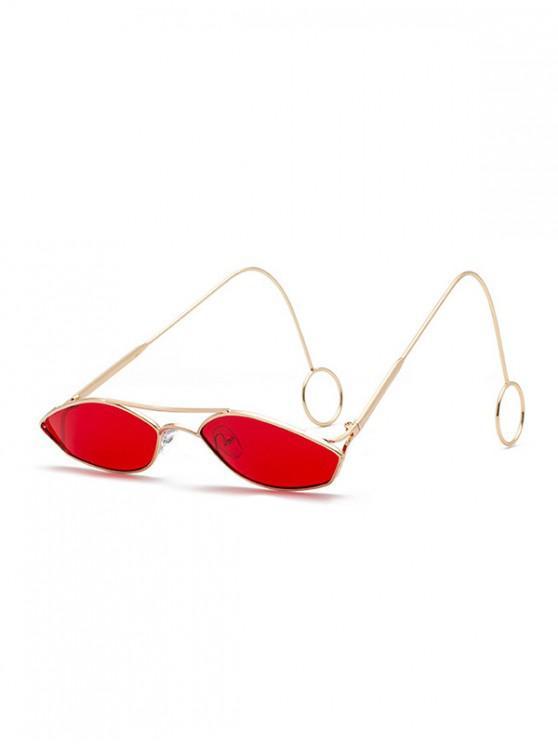 latest Unisex Narrow Irregular Hollow Sunglasses - RED