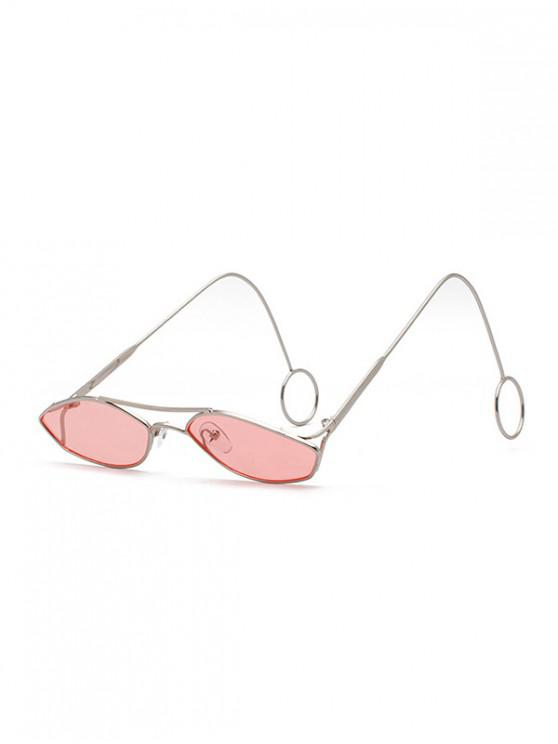trendy Unisex Narrow Irregular Hollow Sunglasses - PINK