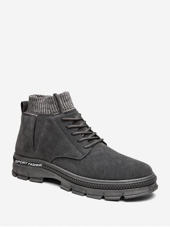 hot High Top Knitted Edge Solid Boots - GRAY EU 44