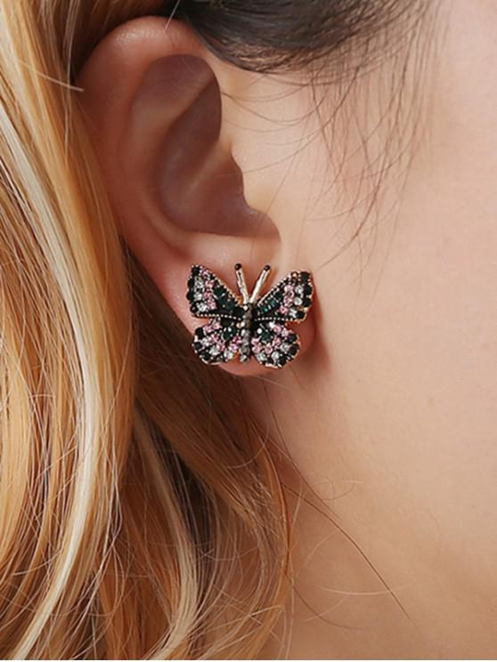 affordable Colorful Rhinestone Butterfly Shape Earrings - GOLD